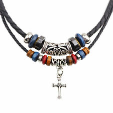 Men's Bohemia Cross Pendant Leather Charms Beaded Weaved Necklace Jewelry