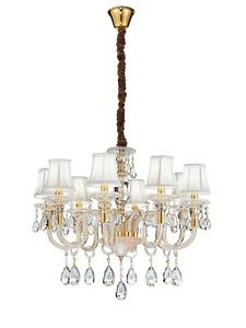 Suspended Lights Classic Glass And Crystal Clear Gold
