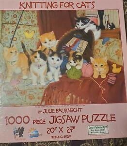 """Knitting for Cats Jigsaw Puzzle 1000 Pc 20 x 27"""" Sunsout - Julie Bauknecht"""