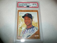2011 TOPPS HERITAGE STARLIN CASTRO AUTOGRAPH CHICAGO CUBS PSA 8