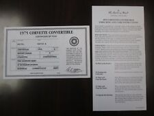 Danbury Mint Paperwork 1975 Chevy Corvette Convertible