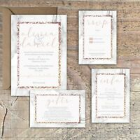 Personalised ROSE GOLD & MARBLE EFFECT FRAME wedding invitations packs of 10