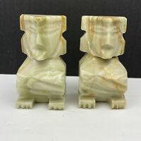 "Vintage 5 1/2"" Carved Alabaster Marble Stone Tiki Aztec Mayan Bookends"