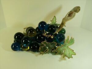 Vintage Mid-Century Magenta, 1blue Acrylic Grapes Cluster with driftwood