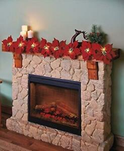 """Lighted Poinsettia Garland 53""""L - Red"""