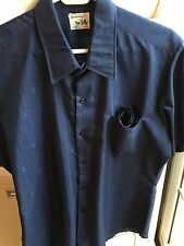 VTG MENS BUTTON FRT S/S NAVY SHIRT WITH 'YSL' LOGO FABRIC~ KRISHNA'S JAPAN M