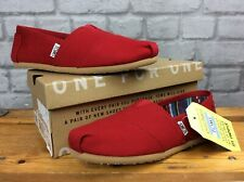 BNWT TOMS LADIES UK 5 EU 37.5 CLASSIC SLIP ON RED SHOES CANVAS FABRIC J