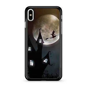 Flying Witch Broomstick Magical Castle Delightful Full Moon 2D Phone Case Cover