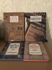 Four Crafting Books Embroidery Ribbon Cross Stitch Beads Hardbacks