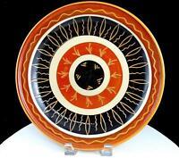 "HOLBAEK DANISH ART POTTERY INCISED LEAF & WAVY LINE DESIGN 11 3/8"" LG WALL PLATE"