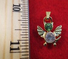 14 KT GOLD EP BIRTHSTONE AUGUST PERIDOT CAT ANGEL CHARM PENDANT
