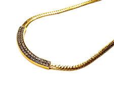 Bijou  alliage doré collier maille gourmette motif strass necklace