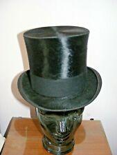 Vintage antique silk top hat topper Herbert Johnson London & card box 55cm 6 3/4