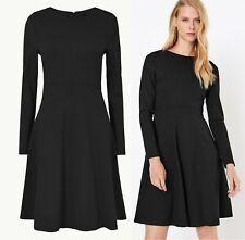 Marks & Spencer Black Fit & Flare Mini Dress Black Plus Size 24 Long Sleeves New