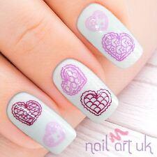 Purple Heart Water Decal Nail Stickers Transfers Tattoos Art 01.03.009