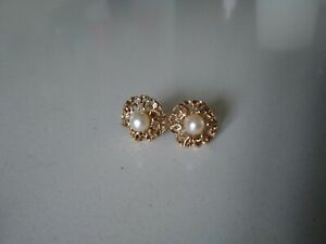Vintage 9ct Gold & Cultured Pearl Earrings post & butterfly fittings, hallmarked