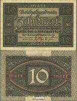 Deutsches Reich RosbgNr: 63a, 7stellige Kontrollnummer bankfrisch 1920 10 Mark