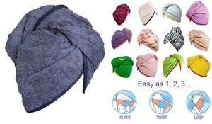 100% Pure Cotton Hair Wrap Head Towel Turbie Turban Twist Drying Button 500GMS .