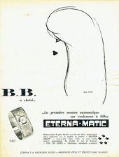 Publicité Advertising 067  1959  Eterna-Matic montre B. Bardot  Kan Kaime 2