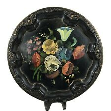 More details for vintage toleware tray floral hand painted round 30.5cm in diameter