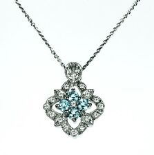 Blue Topaz & Diamond Necklace in 14k White Gold (Chain included) Dia. 0.18cts.