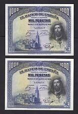 F.C.  PAREJA CORRELATIVA 1000 PESETAS 1928 , EBC- (XF-) .