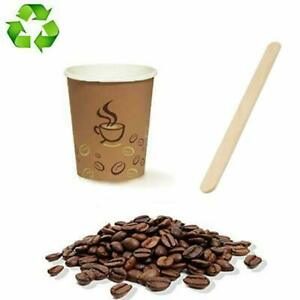 🥃 500 BICCHIERI DI CARTA 75 ml CHICCO DA CAFFÈ + 500 PALETTINE IN LEGNO BETULLA