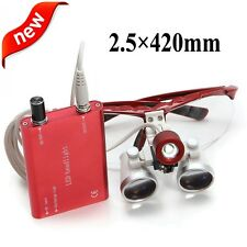 Red Dental Loupes 2.5X 420mm Surgical Medical Binocular With LED Head Light Lamp