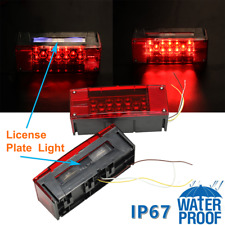 Pair LED Submersible Red Trailer Boat Rectangle Stop Turn Tail Lights Waterproof