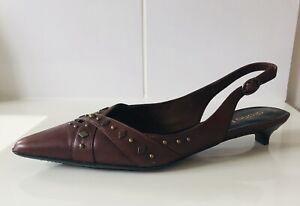 Diana Ferrari Size 6 New In Box Leather Kitten Heel Sling Back Studded Detail