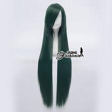 100CM Dark Green Long Straight Women Fashion Basic Hair Cosplay Synthetic Wig