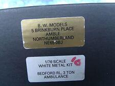 1/76 B.W, Models RL 3 ton Bedford ambulance white metal kit