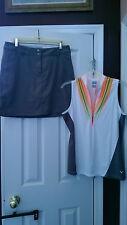 NWT CALLAWAY Gray Orange Golf Outfit Skort Sleeveless Shirt - size 10 12 14  L