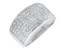Unisex 10K White Gold 12MM Wide Wedding Band and Men's Pinky Ring 1.50ct