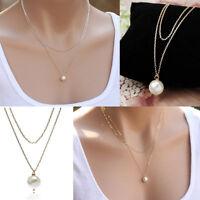 Fashion Women Pearl Choker Chunky Statement Bib Necklace Jewelry Chain Pendant