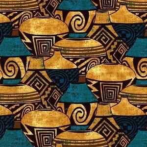 Pueblo Pottery Turquoise Green Quilt Fabric - Fat Quarter
