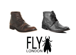 Fly London Mens WATT Black, Camel Lace Up Soft Leather Comfort Casual Boot