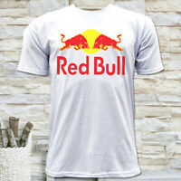 ENERGY DRINK RACING BULL LOGO MEN'S WHITE SHORT SLEEVE T-SHIRT SIZE S M L XL