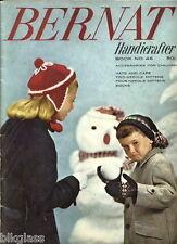 Bernat Handicrafter 46 Knit 1955 Child Mitts Hats Cap Socks Pattern 2or4 Needle