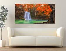 Quadro moderno Stampa su Tela Cotone cm.120x60 Cascata Paesaggio Arredo Casa