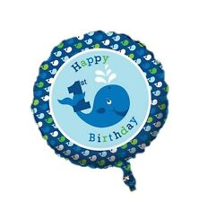 """18"""" Ocean Baby Blue Whale Happy Birthday  Party Foil Balloon"""