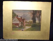 EARLY 1900's GIRL & LADY FOLK ART PAINTING~NEW ENGLAND CREEP ON~ SIGNED ORIGINAL