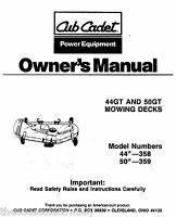 Cub Cadet 44GT and 50GT  Rotary Mower  MOWING DECKS Owners Operators Manual