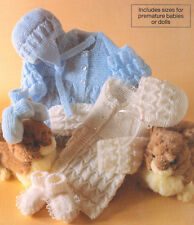 """Baby Premature Doll Matinee Coat Helmet Bootees & Bonnet 10"""" - 18"""" to Knit 4 ply"""