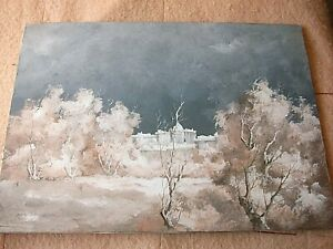 "LEONARDO DE MAGISTRIS ""Inverno scorcio del Cupolone""(70x50) olio su tela.1976"