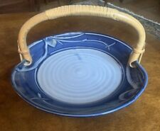 vintage Follete Pottery Plate With Bamboo Handle