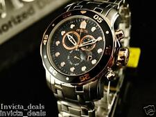 Invicta Mens Diver Scuba Swiss Chronograph Black Dial Rose Tone SS Watch
