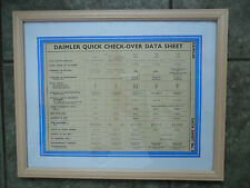 DAIMLER DB17 DB18 2 LITRE DE27 DE36 STRAIGHT EIGHT FRAMED DATA CHART 1937 - 1947