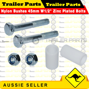 """Pair of Nylon Trailer Leaf Spring Bushes 45mm W1/2"""" Zinc Plated Bolts - Superior"""