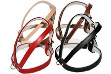 DOG HARNESS REAL LEATHER BLACK RED BROWN NATURAL